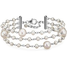 Blue Nile Freshwater Cultured Pearl Bracelet in Sterling Silver (€87) found on Polyvore