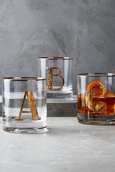 Glas mit goldenem Monogramm-SORTIERT