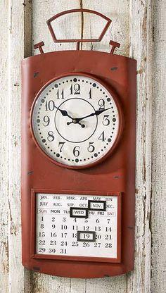 5549101001:Retro Wall Clock and Calendar-Red