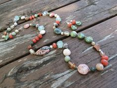 Ocean Jasper, Jade, Fossil Jasper, Crystal, Glass, Agate and Quartz Knotted Necklace and Earrings by RagayJewelry on Etsy https://www.etsy.com/listing/470783904/ocean-jasper-jade-fossil-jasper-crystal