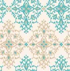 Kimi (M0708) - Crown Wallpapers - A beautiful all over damask design in a watercolour ikat effect. Showing in turquoise blue with gold - more colours are available. Please request a sample for true colour match.