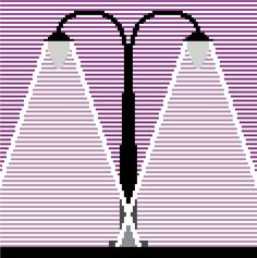 """crossstitchtheline:  """"Modern cross stitch pattern of street lights. Contemporary minimalist design in purples and greys contrasting light and shadows.  """""""