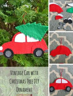 Vintage Car with Christmas Tree DIY Ornament (inc pdf file pattern). Use w/ paper instead of felt?