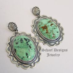 Darryl Cadman Turquoise & Sterling Silver Large Oval & Rosette POST Earrings | Upscale online Southwestern Native American turquoise Jewelry | New Mexico | NEW