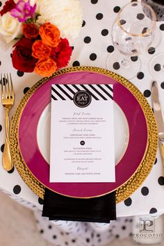 Styled Shoot, A Kate Spade Wedding on The DC Ladies, Menu by Tabibi Design, Photo by Procopio Photography, Wedding Planner Bright Occasions