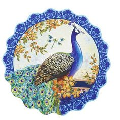 Peacock Paper Coaster Set--these look like the beginning of cards to me....where's my glitter glue.