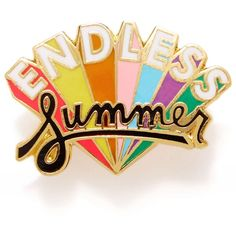 ban.do Endless Summer Enamel Pin (600 RUB) ❤ liked on Polyvore featuring jewelry, brooches, accessories, pins, fillers, words, endless summer, pin brooch, rainbow jewelry and enamel brooches