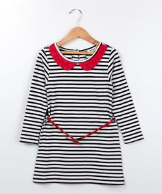 Look what I found on #zulily! White Stripe Dress - Toddler & Girls by Beebay #zulilyfinds
