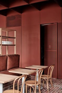 Ritz & Ghougassian reference brickwork for red-toned interiors of Bentwood cafe in Melbourne - >_RAUM Commercial Interior Design, Commercial Interiors, Cafe Restaurant, Restaurant Design, Design Comercial, Bentwood Chairs, Dining Chairs, Terracota, Inside Design