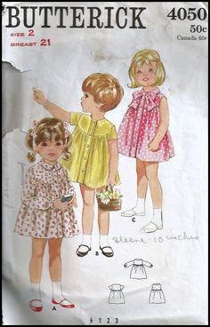 Vintage Butterick 4050 Toddler Girls Dress Sewing Pattern 2; $7.99 etsy