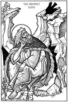 The Prophet Elias being fed by a raven. Religious Images, Religious Icons, Religious Art, Bible Coloring Pages, Adult Coloring Pages, Monastery Icons, Lives Of The Saints, Christian Devotions, Bible Crafts
