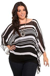 d502992b17274 Black and White Stripe Kimono Sleeve Chiffon Top Perfect for those summer  nights or to keep