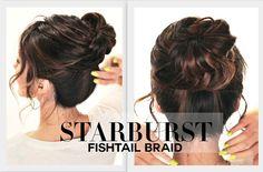★SUMMER STARBURST BRAIDED BUN HAIRSTYLE | FISHTAIL BRAIDS HAIRSTYLES