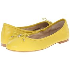 Sam Edelman Felicia (Chartreuse Glow Nappa Luva Leather) Women's Flat...  ($100) ❤ liked on Polyvore featuring shoes, flats, round toe flats, slip-on  shoes, ...