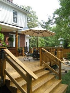 Most building codes require deck railings for decks that are more than 24 inches off the ground. If stairs exist, then these are considered for adding a railing, with respect to seniors and children.