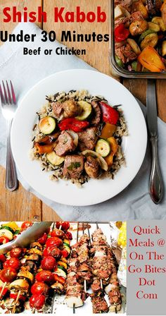 In under 30 minutes you can have this weeknight beef shish kabob meal ready.  Or use chicken, pork or lamb.  Loaded with vegetables making it healthy and the meat packs protein.  Citrus marinade adds a zing.  Easy, healthy meal.  OnTheGoBites.Com