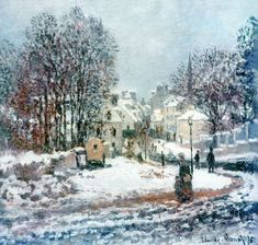 Claude Monet     The grand street entering to Argenteuil, winter, 1885