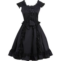 Partiss Women's Classic Short Sleeves Bow Decorated Lolita Dress ($66) ❤ liked on Polyvore featuring dresses, bow dress, embelished dress, short sleeve dress, short-sleeve dresses and embellished dress