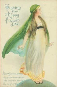 Lovely vintage St Patrick's Day postcard circa 1910.  Jacqueline Gillam Fairchild Her Majesty's English Tea Room Author: Estate of Mind