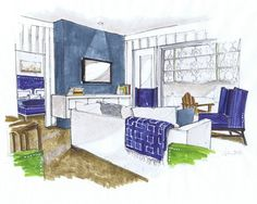 Michelle Morelan Rendering - pretty carriage house layout with center wall and floating console