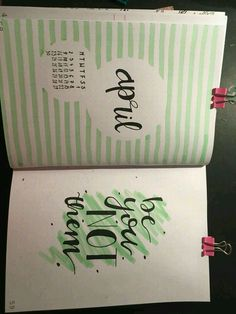 Bullet journal pages, title month April green background with Tombow or underline The Effective Pictures We Offer You A