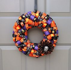 Halloween Skull Flower Ribbon 12' Wreath by KristinCraftsALot, $35.00