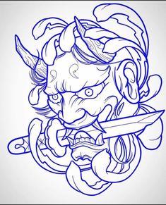 Oni Tattoo, Tatto Skull, Hanya Tattoo, Samurai Tattoo, Tattoo Bird, Hannya Mask Tatuaje, Hannya Maske Tattoo, Stencils Tatuagem, Tattoo Stencils