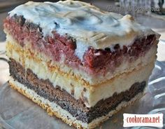 Пляцок з горіхами вишнями та маком Hungarian Cake, Hungarian Recipes, Russian Recipes, Russian Cakes, Russian Desserts, Traditional Cakes, Sweet Cakes, How Sweet Eats, Homemade Cakes