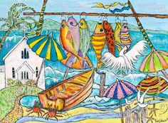 'Goin' Troppo', saint Mary's church on the inlet with colourful fish strung on line - Terry Johnson