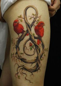 Tattoo red birds notes Ast   #Tattoo, #Tattooed, #Tattoos