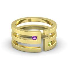 18K Yellow Gold Ring with Amethyst & Peridot | Labyrinth Ring | Gemvara