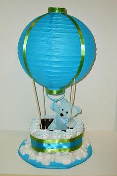 Custom made Diaper Cakes and Designs!  Hot Air Balloon that lights up!
