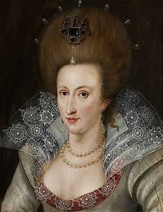 Anne of Denmark (1574-1619), Queen of James I by John de Critz (1551-1642) ~ ca.1605 ~ John de Critz or John Decritz was one of a number of painters of Flemish and Dutch origin active at the English royal court during the reigns of James I of England and Charles I of England.