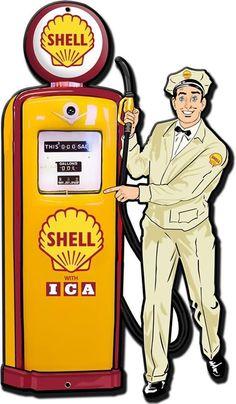 Vintage Advertisements, Vintage Ads, Vintage Posters, Vintage Style, Old Gas Pumps, Vintage Gas Pumps, Gas Station Attendant, Shell Gas Station, Pompe A Essence