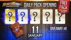 FREE Pack Giveaway #8 / 1 Golden Rare & 1 Rare Cards! Hearthstone Packs ... Giveaway, Packing, Day, Youtube, Cards, Free, Bag Packaging, Maps, Playing Cards