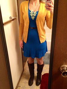 Summer to Fall: Blue summer dress + brown belt + mustard cardigan, teal statement necklace, dark brown boots.