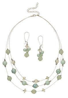 """""""Beach Glass Illusion Necklace & Earring Set (Beach Glass)"""" - $16.00 @ Maurices.com"""