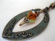 Glass bead necklace  Patina Necklace Aged look by LunaDiArgento, €17.00