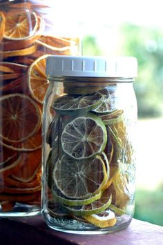 dehydrATE ORANGE SLICES115 – 135 degrees (I prefer the lower temps to preserve the natural oils). Dry them for 5 – 12 hours… they need to be brittle. Store them in airtight jars and out of light.