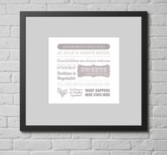 Personalised Print - Grandparents House Rules. This personalised typographic art print is a lovely gift for any fun household where children are always welcome.