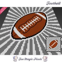Football crochet blanket pattern; c2c, knitting, cross stitch graph; pdf download; no written counts or row-by-row instructions by TwoMagicPixels, $2.99 USD