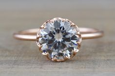 Melrose 14k Rose Gold Solitaire Round Forever Brilliant Moissanite 8mm Engagement Promise Ring Charles & Colvard