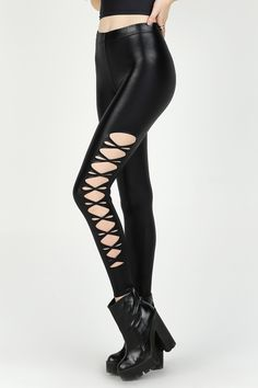 Twisted Wet Look High Waisted Leggings – LIMITED ($80AUD) by BlackMilk Clothing