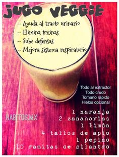 Jugo veggie Heathy Drinks, Healthy Juice Drinks, Healthy Juices, Juice Smoothie, Smoothie Drinks, Fruit Smoothies, Healthy Smoothies, Juicer Recipes, Raw Food Recipes