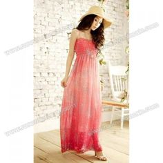 Wholesale Bohemian Ombre Tiny Floral Print Spaghetti Strap Chiffon Maxi Dress For Women (RED,FREE SIZE), Maxi Dresses - Rosewholesale.com