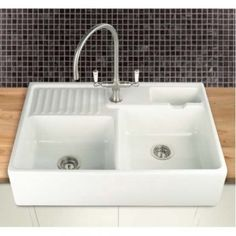 ... 80 Double Bowl 895mm x 600mm Apron Fronted Ceramic Kitchen Sink BER80