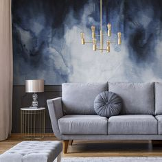 The soft deep blue watercolours in this romantic cloud wallpaper mural create a subtle and relaxing style ideal for using as modern living room. Blue Wallpaper Bedroom, Accent Wallpaper, Cloud Wallpaper, Accent Wall Bedroom, Modern Wallpaper, Wallpaper Feature Walls, Living Room Wallpaper Accent Wall, Beautiful Wallpaper, Easy Painting Projects
