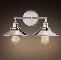 Guest Bathroom Over Mirror Light Fixture Restoration hardware: Metal Filament Sconce Double Polished Nickel $170