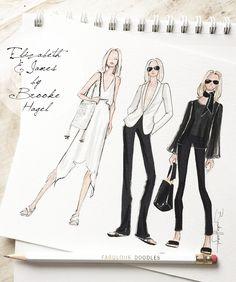 Sketches Inspired by Resort Collections. Shown here Elizabeth and James by Brooke Hagel @brooklit.