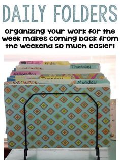Organizing Your Students' Work for the Week! #B2S #TeachersFollowTeachers